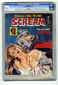 """Scream #10 (Skywald, 1974) CGC NM+ 9.6 White pages. Edgar Allan Poe adaptation. Dracula story. """"The Art of Killing..."""