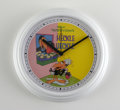 Memorabilia:Comic-Related, Heckle and Jeckle Wall Clock. White plastic wall clock, eight inches in diameter, with a face featuring the cover from an un...