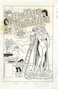 Original Comic Art:Covers, Dan DeCarlo - Betty and Veronica #98 Cover Original Art (Archie,1996). Veronica turns a cold shoulder to Archie's ice sculp...(Total: 2 Items)
