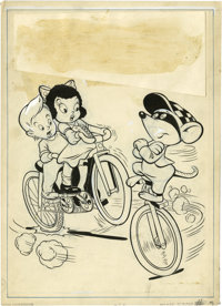 Jason Comic Art Studio (attributed) - Tick Tock Tales #9 Cover Original Art (Magazine Enterprises, 1946). Muggsy Mouse r...