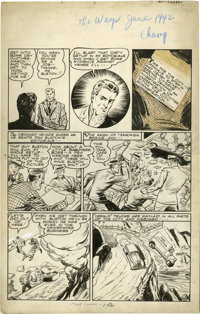 Pierce Rice (attributed) - Champ Comics #17 Wasp Page Original Art, Group of 5 (Harvey, 1942). A masked crime-fighter wi...