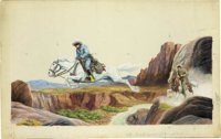 "Edwin Schmidt - ""The Lone Ranger"" Little Golden Book #297, pages 6 and 7 Illustration Original Art (Western, 1..."