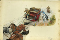 "Edwin Schmidt - ""The Lone Ranger"" Little Golden Book #297, pages 14 and 15 Illustration Original Art (Western..."