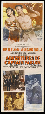 "Adventures of Captain Fabian (Republic, 1951). Insert (14"" X 36""). Errol Flynn, Vincent Price and Agnes Mooreh..."