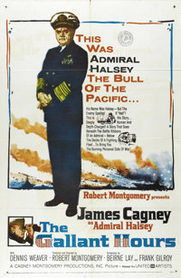 "The Gallant Hours (United Artists, 1960). One Sheet (27"" X 41""). James Cagney stars as Admiral ""Bull""..."