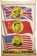 Political:Textile Display (1896-present), Dwight Eisenhower: An Unusual World War II Banner Picturing Himwith Stalin & Montgomery....