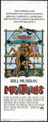 "Meatballs (Paramount, 1979). Insert (14"" X 36""). Bill Murray is Tripper, the head counselor at Camp Northstar..."