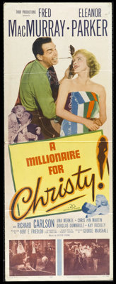 "A Millionaire for Christy (20th Century Fox, 1951). Insert (14"" X 36""). Fred MacMurray and Eleanor Parker star..."
