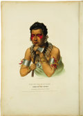 "Antiques:Posters & Prints, ""Young Mahaskah"", Fine Indian Portrait Printed and Colored With 2Pages of Description, ..."