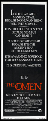 "The Omen (20th Century Fox, 1976). Insert (14"" X 36""). Gregory Peck and Lee Remick star in the horror story ab..."