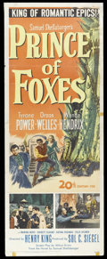 "Prince of Foxes (20th Century Fox, 1949). Insert (14"" X 36""). Tyrone Powers and Orson Welles star in this film..."