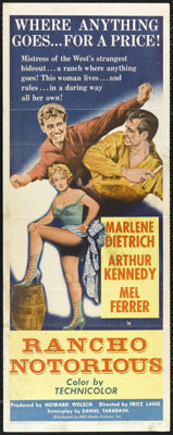"Rancho Notorious (RKO, 1952). Insert (14"" X 36""). Atmospheric Western film noir starring Marlene Dietrich, Art..."