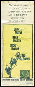 """Movie Posters:Western, Rio Bravo (Warner Brothers, 1959). Insert (14"""" X 36""""). John Wayne, Dean Martin, Ricky Nelson and Angie Dickinson star in thi..."""