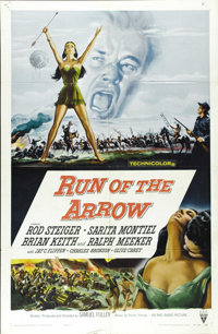 "Run of the Arrow (RKO, 1957). One Sheet (27"" X 41""). Rod Steiger, Brian Keith and Charles Bronson star in this..."