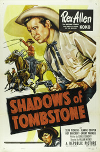 """Shadows of Tombstone (Republic, 1953). One Sheet (27"""" X 41""""). Tombstone is run by evil Sheriff Webb (Emory Par..."""