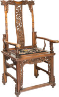 Asian:Chinese, A Chinese Carved Hardwood Armchair, 20th century. 46-5/8 x 23-1/4 x22 inches (118.4 x 59.1 x 55.9 cm). PROPERTY FROM THE ...