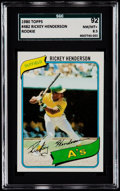 Baseball Cards:Singles (1970-Now), 1980 Topps Rickey Henderson #482 SGC 92 NM/MT+ 8.5....