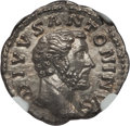 Ancients:Roman Imperial, Ancients: Divus Antoninus Pius (died AD 141). AR denarius (3.44 gm). NGC Choice MS 5/5 - 5/5....