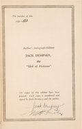 "Boxing Collectibles:Autographs, 1929 Jack Dempsey and Nat Fleischer Signed Hardcover ""The Idol ofFistiana"" Book...."
