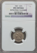 Three Cent Nickels, 1867 3CN -- Improperly Cleaned -- NGC Details. UNC. This lot also includes: 1871 3CN -- Improperly Cleaned -- NGC Detail... (Total: 3 coins)