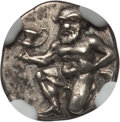 Ancients:Greek, Ancients: THRACIAN ISLANDS. Thasos. Ca. 411 BC-350 BC. ARtrihemiobol (0.83 gm). NGC AU 5/5 - 3/5....
