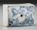 Asian:Other, A Korean White and Blue Porcelain Water-Dropper, Joseon dynasty,circa 1392-1897. 1-1/4 h x 3 w x 2 d inches (3.2 x 7.6 x 5....