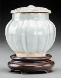 Asian:Chinese, A Small Chinese Yingqing Glazed Porcelain Covered Jar and Cover. 3inches high (7.6 cm). ...