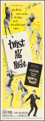 """Twist All Night (American International, 1962). Autographed Insert (14"""" X 36""""). Rock and Roll"""