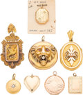 Estate Jewelry:Pendants and Lockets, Diamond, Spinel, Half-Pearl, Gold, Yellow Metal Lockets. . ...(Total: 8 Items)