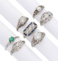 Estate Jewelry:Rings, Art Deco Diamond, Multi-Stone, Platinum Rings. . ... (Total: 7Items)