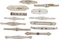 Estate Jewelry:Brooches - Pins, Diamond, Sapphire, Synthetic Sapphire, Seed Pearl, Glass, Enamel, Gold Brooches. . ... (Total: 13 Items)