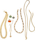 Estate Jewelry:Other, Victorian Multi-Stone, Glass, Gold, Gold-Filled Watch Chains & Fobs. . ... (Total: 8 Items)