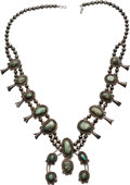 Estate Jewelry:Necklaces, Turquoise, Silver Squash Blossom Necklace. . ...