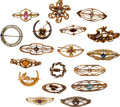 Estate Jewelry:Brooches - Pins, Diamond, Multi-Stone, Seed Pearl, Glass, Enamel, Gold Brooches. .... (Total: 18 Items)