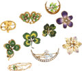 Estate Jewelry:Brooches - Pins, Diamond, Seed Pearl, Enamel, Gold Brooches. . ... (Total: 10 Items)
