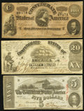 Confederate Notes:Group Lots, T18 $20 1861 PF-7 Cr. 107;. T60 $5 1863 PF-31 Cr. 463;. T65 $1001864 PF-1 Cr. 490.. ... (Total: 3 notes)