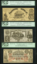 Confederate Notes:Group Lots, CT18/107A-1 Counterfeit $20 1861;. CT20/141 Counterfeit $20 1861;. CT31/245 Counterfeit $5 1861.. ... (Total: 3 notes)