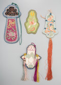 Asian:Chinese, Four Chinese Embroidered Silk Purses, Republic Period, circa1912-1949. 19-1/2 inches long (49.5 cm) (longest, including tas...(Total: 4 Items)