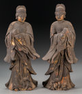 Asian:Chinese, A Pair of Chinese Carved and Giltwood Temple Watcher Figures, earlyMing Dynasty, circa 1400-1500. 12 inches high (30.5 cm)... (Total:2 Items)
