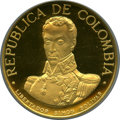 Colombia, Colombia: Republic brass Gold-Issue Uniface Trial 1500 Pesos(1968-9) PR65 Ultra Cameo NGC,...