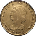 Colombia, Colombia: Republic gold 8 Escudos 1824 POPAYAN-FM XF40 NGC,...