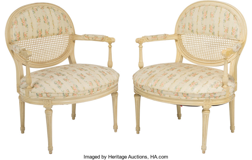 2 Creme Fauteuils.A Pair Of Louis Xvi Style Creme Painted Caned And Lot