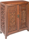 Asian:Chinese, A Chinese Carved Hardwood Cabinet, 20th century. 37-1/2 h x 33-1/2w x 14 d inches (95.3 x 85.1 x 35.6 cm). PROPERTY FROM ...