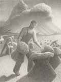 Fine Art - Work on Paper:Print, Grant Wood (American, 1891-1942). Approaching Storm, 1940.Lithograph. 11-7/8 x 8-7/8 inches (30.2 x 22.5 cm) (image). E...