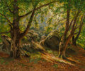 Fine Art - Painting, European:Antique  (Pre 1900), French School (Late 19th Century). Dappled sunlight shiningthrough the forest. Oil on canvas laid on Masonite. 21-1/2 x...