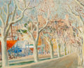 Fine Art - Painting, European:Modern  (1900 1949)  , Gustave Nebel (French, 1907-1987). Boatworks by a tree-lined road. Oil on Masonite. 16 x 20 inches (40.6 x 50.8 cm). Sig...