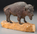 Fine Art - Sculpture, American:Contemporary (1950 to present), After Carl Kauba (Austrian, 1865-1922). Standing Bison,1967. Bronze with brown patina. 7 inches (17.8 cm) high on a 2 i...