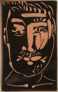 Pablo Picasso (Spanish, 1881-1973) Visage d'homme, 1966 Terracotta 6-1/4 x 4 x 1 inches (15.9 x 1