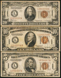 Small Size:World War II Emergency Notes, Fr. 2302 $5 1934A Hawaii Federal Reserve Note. Very Fine;. Fr. 2303 $10 1934A Hawaii Federal Reserve Note. Fine-Very Fine;... (Total: 3 notes)