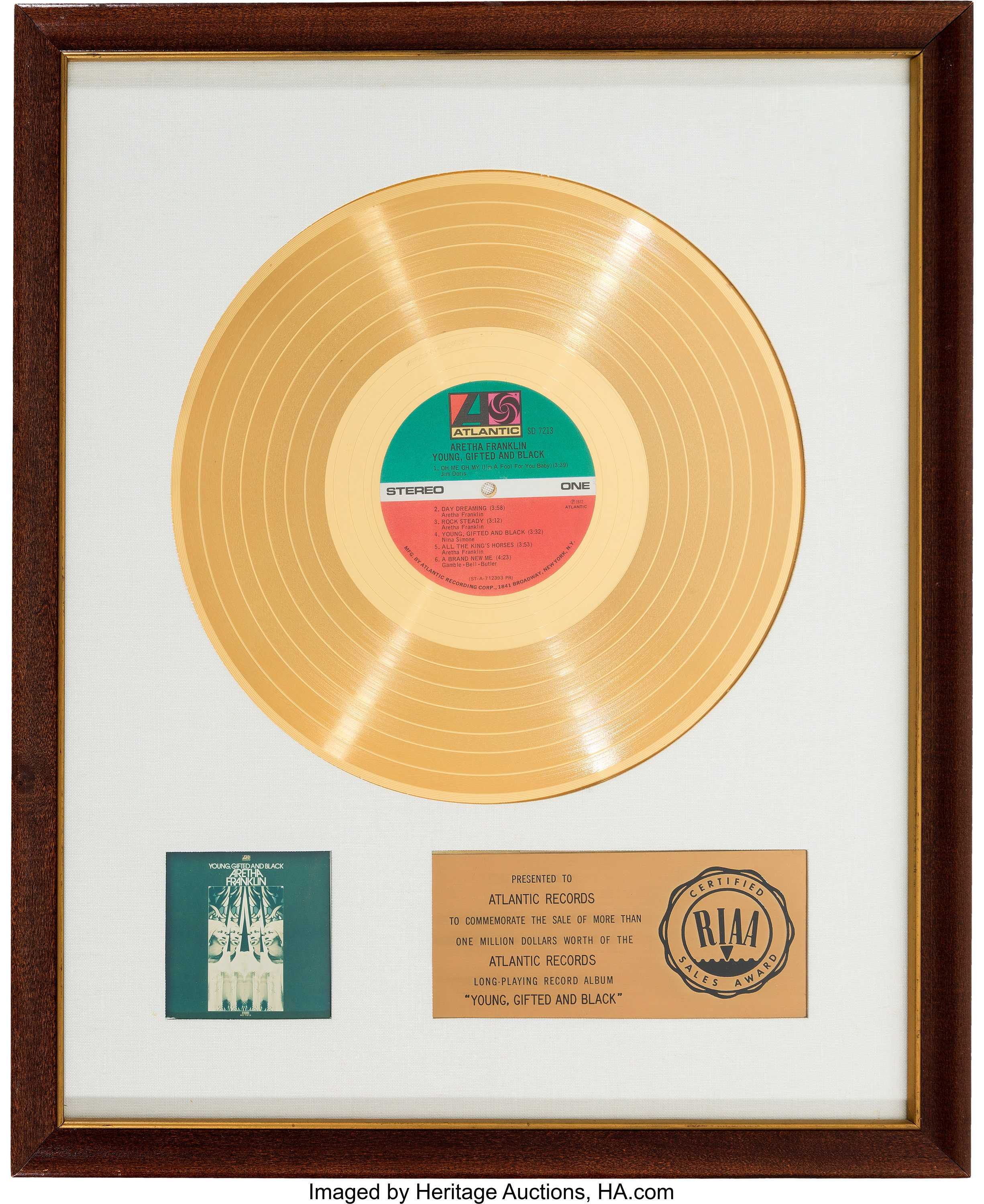 Aretha Franklin Young, Gifted And Black RIAA White Mat Gold